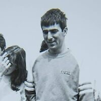 Air Force navigator Ron Arad, who went missing in 1986, with friends. (Israeli Air Force)