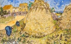 This image, provided by Christie's, shows Vincent van Gogh's 1888 work 'Wheatstacks,' to be offered in the dedicated sale 'The Cox Collection: The Story of Impressionism,' in New York, November 11, 2021. The watercolor, seized by the Nazis during World War II, is estimated at $20-30 million. (Christie's)