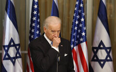 US Vice President Joe Biden during a press conference at the residence of Israel's Prime Minister Benjamin Netanyahu, not seen, in Jerusalem, Tuesday, March 9, 2010.(Ariel Schalit/AP)