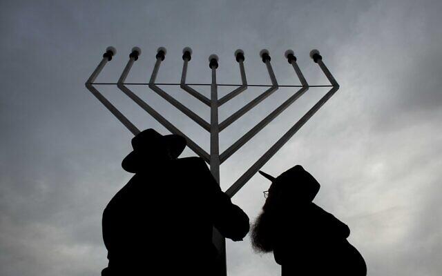 Illustrative: A giant Lubavitch Hanukkah Menorah is set up in central Berlin, Tuesday, December 20, 2011. (AP Photo/Markus Schreiber)