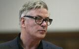 Actor Alec Baldwin stands in a New York City court, for a hearing on charges that he slugged a man during a dispute over a parking spot in 2018, on January 23, 2019. (Alec Tabac/The Daily News via AP, Pool, File)