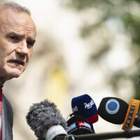 Deputy Secretary General and Political Director of the European External Action Service (EEAS) Enrique Mora addresses the media in front of the Grand Hotel Vienna, where closed-door nuclear talks take place in Vienna, Austria, June 20, 2021. (AP Photo/Florian Schroetter)