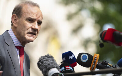 Deputy Secretary General and Political Director of the European External Action Service, Enrique Mora, addresses the media in front of the 'Grand Hotel Vienna' where closed-door nuclear talks take place in Vienna, Austria, on June 20, 2021. (Florian Schroetter/AP)