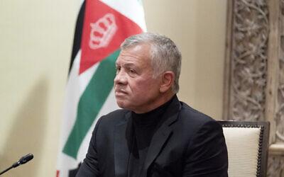 Jordan's King Abdullah II listens during a meeting with US Secretary of State Antony Blinken in Amman, Jordan, May 26, 2021. (AP Photo/Alex Brandon, Pool)