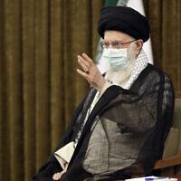 Iran's Supreme Leader Ayatollah Ali Khamenei speaks in Tehran, Iran, July 28, 2021. (Office of the Iranian Supreme Leader via AP)