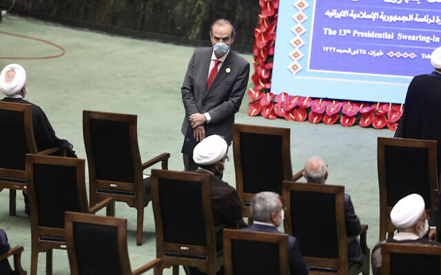 Deputy Secretary General and Political Director of the European External Action Service (EEAS), Enrique Mora, center, arrives to attend the swearing-in ceremony of Iranian President Ebrahim Raisi at the parliament in Tehran, Iran, August 5, 2021. (Vahid Salemi/AP)