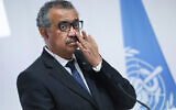 WHO Director-General Tedros Adhanom Ghebreyesus at the opening of the World Health Organization Academy in Lyon, central France, on September 27, 2021. (Denis Balibouse/Pool Photo via AP)