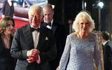Britain's  Prince Charles, left, and Camilla, the Duchess of Cornwall, arrive for the World premiere of the new film from the James Bond franchise 'No Time To Die,' in London, September 28, 2021. (Chris Jackson/Pool Photo via AP)