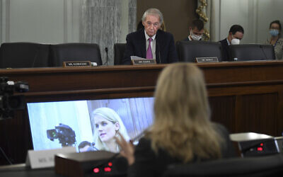 Sen. Ed Markey questions former Facebook data scientist Frances Haugen speaks during a hearing of the Senate Commerce, Science, and Transportation Subcommittee on Consumer Protection, Product Safety, and Data Security, on Capitol Hill, Oct. 5, 2021, in Washington.  (Matt McClain/The Washington Post via AP, Pool)