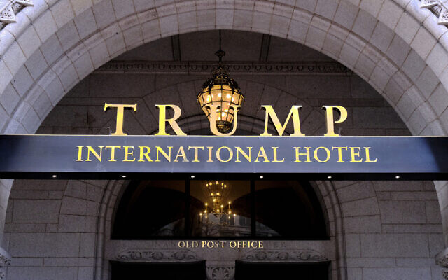 This file photo from March 11, 2019 shows the north entrance of the Trump International in Washington, DC. (AP Photo/Mark Tenally, File)