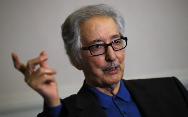Former Iranian president Abolhassan Banisadr speaks during an interview with the Associated Press in Versailles, west of Paris, France, January 29 2019. (AP Photo/Francois Mori, File)