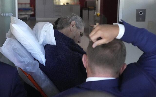 The Czech Republic's President Milos Zeman is admitted to the military hospital in Prague, Czech Republic, October 10, 2021. (AP Photo/Petr David Josek)