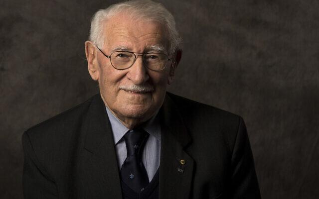 In this undated photo, Holocaust survivor Eddie Jaku poses for a photograph in Sydney, Australia. (Sydney Jewish Museum via AP)