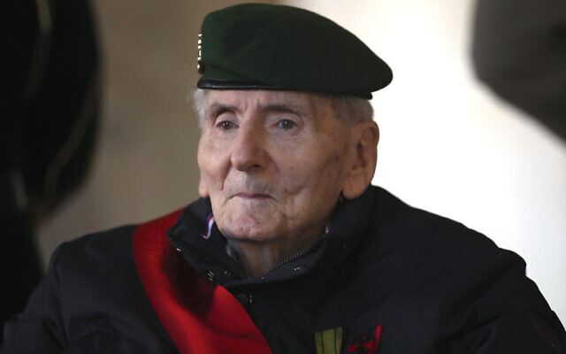 In this Nov.26, 2020 file photo, Hubert Germain, a WWII Resistance fighter and the last 'Compagnon de la Liberation' is pictured before a ceremony in homage to fellow Compagnon de la Liberation Daniel Cordier, at the Invalides monument in Paris (AP Photo/Michel Euler, Pool, File)