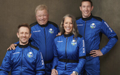 This undated photo made available by Blue Origin in October 2021 shows, from left, Chris Boshuizen, William Shatner, Audrey Powers and Glen de Vries. Their launch was scheduled for October 13, 2021. (Blue Origin via AP)