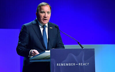 Sweden's Prime Minister Stefan Lofven delivers the opening speech at the Malmo International Forum on Holocaust Remembrance and Combating Antisemitism - REACT. The one-day conference will focus on the receding memory of the Holocaust as Sweden marks the 20th anniversary of a conference on remembering the genocide. (Jonas Ekstromer/TT via AP)