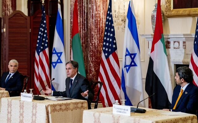 US Secretary of State Antony Blinken accompanied by Foreign Minister Yair Lapid, left, and United Arab Emirates Foreign Minister Sheikh Abdullah bin Zayed al-Nahyanin, right, speaks at a joint news conference at the State Department in Washington, October 13, 2021. (Andrew Harnik/AP))