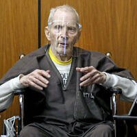 In this Monday, Aug. 9, 2021, file photo, New York real estate scion Robert Durst, 78, answers questions from defense attorney Dick DeGuerin, while testifying in his murder trial at the Inglewood Courthouse in Inglewood, Calif. (Gary Coronado/Los Angeles Times via AP, Pool, File)