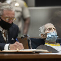 Robert Durst, seated with attorney Dick DeGuerin, is sentenced to life without possibility of parole for the killing of Susan Berman, at the Airport Courthouse in Los Angeles,  October 14, 2021. (Myung J. Chung/Los Angeles Times via AP, Pool)
