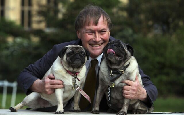 Conservative MP David Amess with his pugs, Lily and Boat at the Westminster Dog of the Year competition at Victoria Tower Gardens in London on Oct. 10, 2013 (Geoff Caddick/PA via AP)