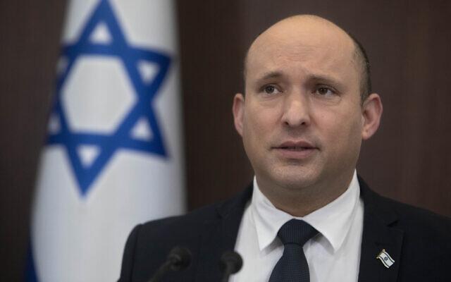 Prime Minister Naftali Bennett speaks during the weekly cabinet meeting at the Prime Minister's Office in Jerusalem, October 17, 2021. (AP Photo/Sebastian Scheiner, Pool)