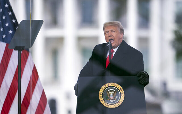"""In this Jan. 6, 2021, file photo, President Donald Trump speaks during a rally protesting the electoral college certification of Joe Biden as President in Washington. Trump has filed a lawsuit to block the release of documents to the Jan. 6 select committee, challenging the decision of President Joe Biden to release them. Trump claims in the lawsuit that the request """"is almost limitless in scope,"""" and seeks records with no reasonable connection to that day. (AP Photo/Evan Vucci, File)"""