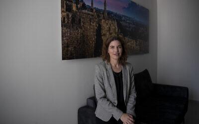 Israel's new minister of environmental protection, Tamar Zandberg, in her office in Jerusalem, October 20, 2021. (AP Photo/Maya Alleruzzo)