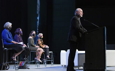 Rabbi Jeffrey Myers gives the invocation on the first day of the Eradicate Hate Global Summit in Pittsburgh, October 18, 2021. (AP Photo/Rebecca Droke)