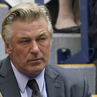 Alec Baldwin watches the men's singles final of the US Open tennis championships in New York on September 12, 2021. (John Minchillo/AP)