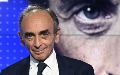 French far-right media pundit Eric Zemmour poses at a televised debate between French far-left leader, Jean-Luc Melenchon in Paris, September 23, 2021. (Bertrand Guay, Pool Photo via AP, File)