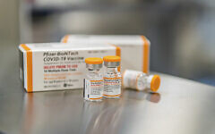 This October 2021 photo provided by Pfizer shows kid-size doses of its COVID-19 vaccine in Puurs, Belgium. (Pfizer via AP)