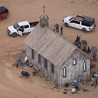 This aerial photo shows a film set at the Bonanza Creek Ranch in Santa Fe, N.M., Saturday, Oct. 23, 2021. Actor Alec Baldwin fired a prop gun on the set of a Western being filmed at the ranch on Thursday, Oct. 21, killing the cinematographer, officials said. (AP Photo/Jae C. Hong)