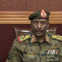 In this frame taken from video, the head of the military, Gen. Abdel-Fattah Burhan, announced in a televised address, that he was dissolving the country's ruling Sovereign Council, as well as the government led by Prime Minister Abdalla Hamdok, in Khartoum, Sudan, October 25, 2021.  (Sudan TV via AP)