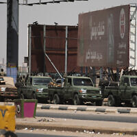 Sudanese security forces are deployed during a protest a day after the military seized power Khartoum, Sudan, Tuesday, Oct. 26, 2021. (AP/Marwan Ali)