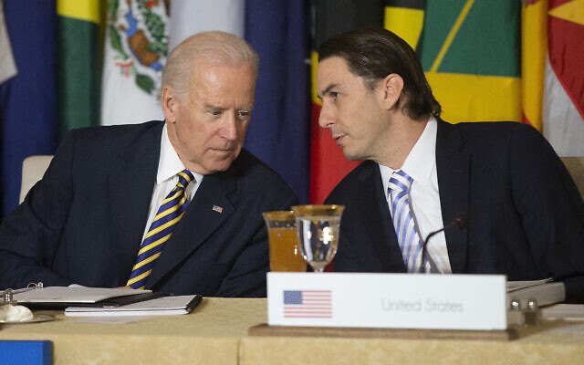Then-US vice president Joe Biden (left) talks with State Department Special Envoy for International Energy Affairs Amos Hochstein during the Caribbean Energy Security Summit, at the State Department in Washington, DC, on January 26, 2015. (Pablo Martinez Monsivais/AP)
