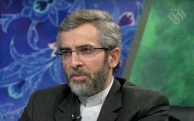 Screen capture from video of Iran's top nuclear negotiator Deputy Foreign Minister Ali Bagheri, 2020. (YouTube)