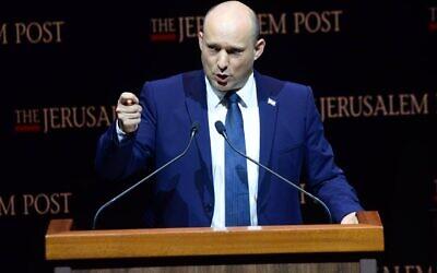 Prime Minister Naftali Bennett speaks at the Jerusalem Post conference in Jerusalem, October 12, 2021 (Kobi Gideon, GPO)