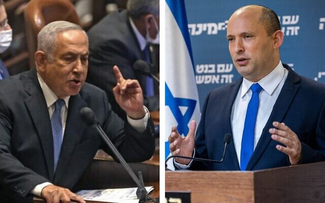 Former prime minister Benjamin Netanyahu (left) and current Prime Minister Naftali Bennett (Combo photo credits: Netanyahu: Menahem Kahana / AFP; Bennett: Yonatan Sindel / Flash90)