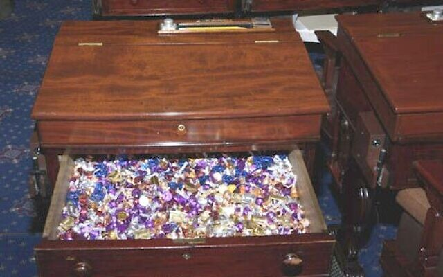 Undated photo of the so-called 'Candy Desk,' located in the US Senate. (Public Domain/Wikimedia)