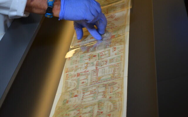 Preparing the Florence Scroll for display at the Israel Museum exhibit, Painting a Pilgrimage (Courtesy Israel Museum)