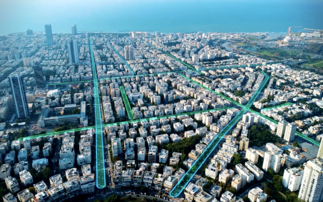 An illustrative image showing electrified roads in Tel Aviv using wireless charging infrastructure tech by Israeli startup ElectReon. (ElectReon)