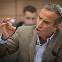 Knesset Member Elazar Stern speaks during an Interior Affairs Committee meeting at the Knesset on February 20, 2018. (Yonatan Sindel/Flash90)