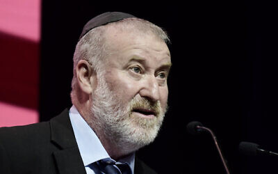 Attorney General Avichai Mandelblit attends a conference in Tel Aviv, on June 29, 2021. (Tomer Neuberg/Flash90)