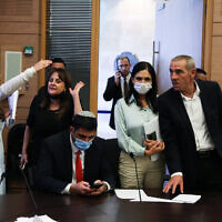 Members of Knesset, during the Arrangements Committee meeting at the Knesset, in Jerusalem, on July 12, 2021. (Olivier Fitoussi/Flash90)