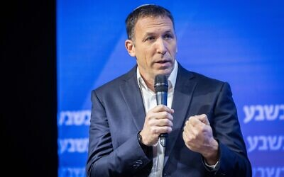 Religious Services Minister Matan Kahana speaks during a conference in Jerusalem on August 1, 2021. (Yonatan Sindel/Flash90)