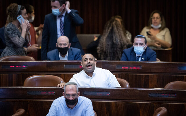 MK Abir Kara reacts during a plenum session in the assembly  hall of the Knesset, in Jerusalem, on August 2, 2021. (Yonatan Sindel/Flash90)