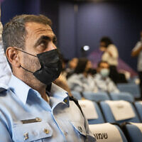 Israel Police Northern District Chief Shimon Lavi arrives to testify before the Meron disaster commission of inquiry, on August 22, 2021. (Yonatan Sindel/Flash90)