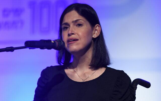 Energy Minister Karin Elharrar speaks at  a Yesh Atid party conference in Shefayim, September 22, 2021. (Gili Yaari/Flash90)