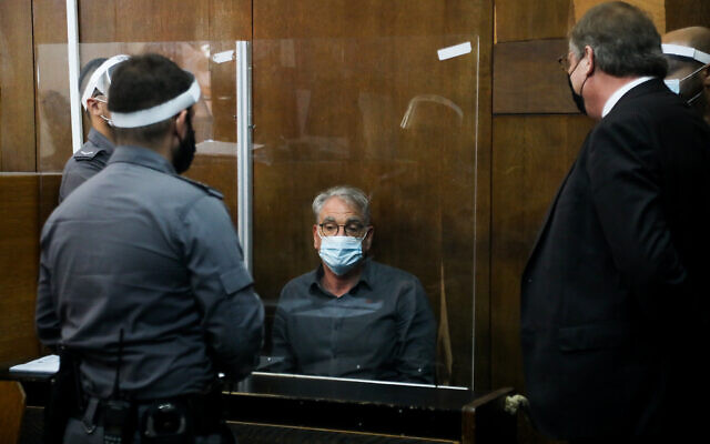 Prof. Aryeh Levin, suspected of sexual assault and rape of female patients, seen during a remand hearing at the Tel Aviv Magistrate's Court, October 04, 2021. (Avshalom Sassoni/Flash90)