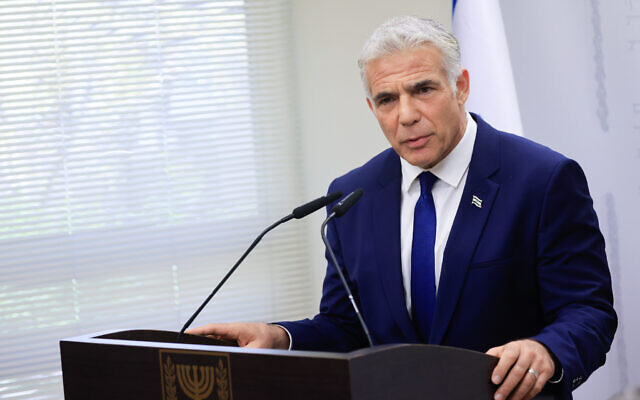 Head of the Yesh Atid party Yair Lapid speaks during a faction meeting at the Knesset, the Israeli parliament in Jerusalem, on October 4, 2021. Photo by Oliiver Fitoussi/Flash90